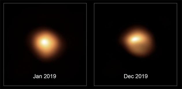 Hochaugelöste Aufnahmen der SPHERE-Kamera der Europäischen Südsternwarte (ESO) zeigen den Roten Riesenstern Beteigeuze und belegen die Helligkeitsverteilung im sichtbaren Lichtspektrum auf der Oberfläche vor und während seines Helligkeitseinbruchs. Aufgrund der Asymmetrie schließen die Autoren auf die Existenz von riesigen Sternflecken. Copyright: ESO/M. Montargès et al.