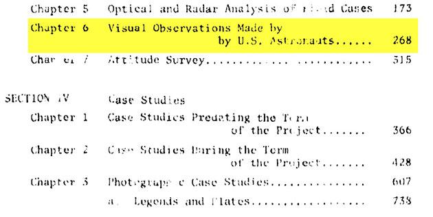 """Das Condon-Report-Inhaltsverzeichnis offenbart ein Kapitel über """"Visuelle UFO-Sichtungen durch US-Astronauten"""", das einen Großteil der fehlenden (70) Seiten einnimmt."""