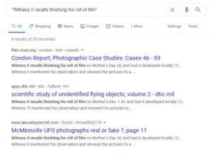 """Eine Google-Suche erbringt meist 6 Kopien des """"vollständigen"""" Condon-Reports. Als solche wird hier u.a. auch die in Wirklichkeit unvollständige Kopie des DITC angezeigt. (Klicken Sie auf die Bildmitte, um zu einer vergrößerten Darstellung zu gelangen)."""