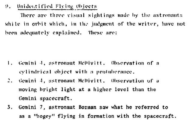 """Auszug aus """"Kapitel 6"""", in dem es um drei UFO-Sichtungen von Astronauten geht, für die auch das Condon-Komitee keine adäquate Erklärung fand."""