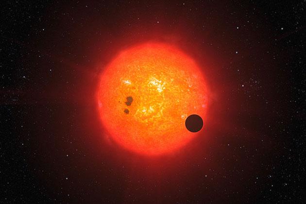 Künstlerische Darstellung eines Planeten um einen Roten Zwerg (Illu.). Copyright: ESO/L. Calçada