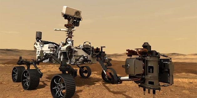 """Künstlerische Darstellung des Rovers """"Perserverance"""" der NASA-Mission """"Mars 2020"""" bei der Entnahme von Boden- und Gesteinsproben (Illu.). Copyright: NASA"""