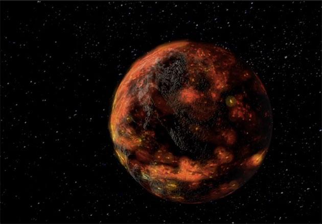 Künstlerische Darstellung des globalen Magmaozeans und ersten Gesteinskruste des noch jungen Mondes (Illu.). Copyright: NASA/Goddard Space Flight Center