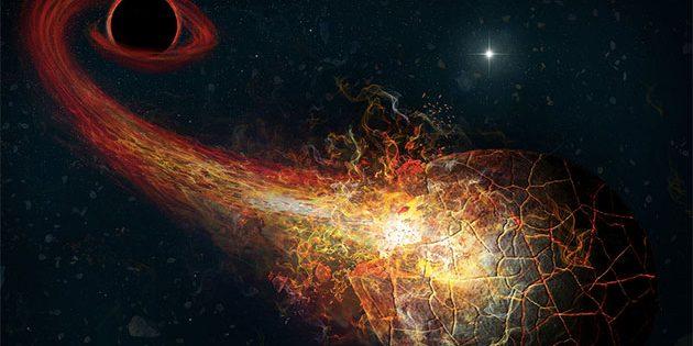 Künstlerische Darstellung einer Akkretions-Ausbruchs, die von der Anziehung eines Kometen der Oortschen Wolke durch ein Primordiales Schwarzes Loch im äußeren Sonnensystem verursacht wird (Illu.). Copyright: M. Weiss / CfA