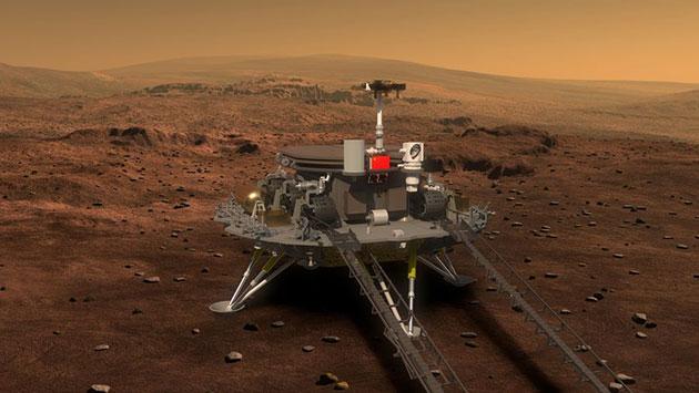 """Künstlerische Darstellung der Landeeinheit der """"Tianwen-1""""-Mission auf dem Mars (Illu.). Copyright/Quelle: CNSA"""