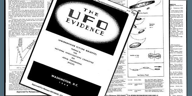 """Seiten der NICAP-Broschüre """"The UFO Evidence"""" von 1964. Copyright: NICAP"""