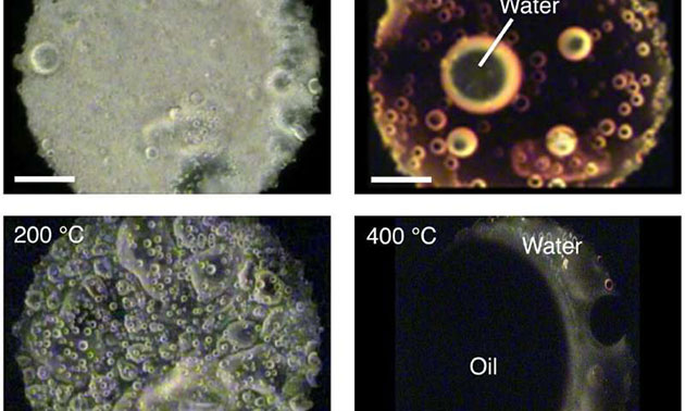 Das Analogon zur interstellaren organischen Substanz erzeugt bei steigender Erwärmungstemperatur Wassertropfen und Öl. Bei 102 °C war das Analogon der organischen Substanz einheitlich. Bei 350 °C waren Wassertropfen deutlich zu sehen. Bei 400 °C wurde offensichtlich Schwarzöl erzeugt. Copyright: Hideyuki Nakano et al., Wissenschaftliche Berichte, 8. Mai 2020
