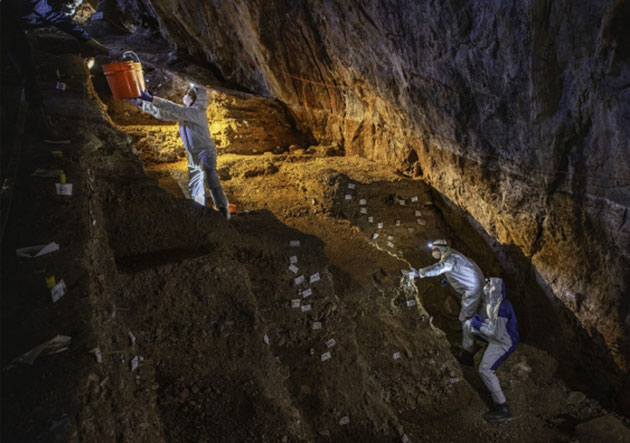 Grabungsarbeiten in der Chiquihuite-Höhle. Copyright: Devin A. Gandy