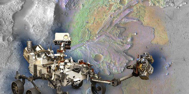 """Der Mars-Rover """"Perseverance"""" (Illu.) vor dem Hintergrund seines vorgesehenen Lande- und Arbeitsortes, dem Jezero-Krater. Copyright: grewi.de (mit Materialien von NASA/JPL-Caltech/ASU)"""
