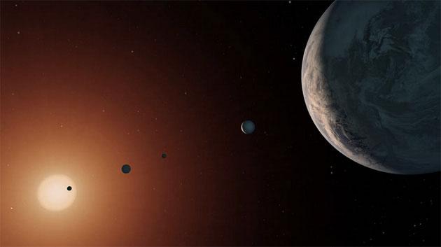 Künstlerische Darstellung einiger TRAPPIST-1-Planeten (Illu.). Copyright: NASA