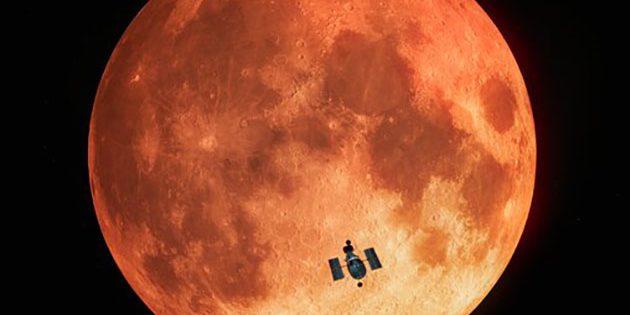 Künstlerische Darstellung des Hubble-Weltraumteleskops vor dem verfinsterten Vollmond (Illu.) Copyright: ESA/Hubble, M. Kornmesser