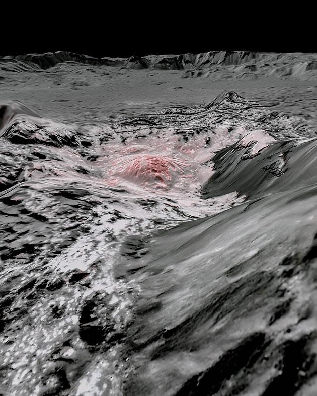 """Falschfarben-Bildmosaik der DAWN-Daten offenbaren junge Sole-Ablagerungen in Form der """"hellen Flecken"""" im Occator-Krater auf dem Zwergplaneten Ceres. Copyright: NASA/JPL-Caltech/UCLA/MPS/DLR/IDA"""