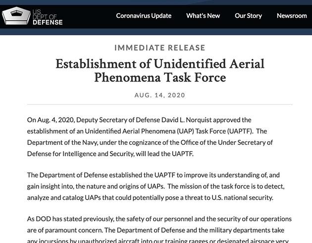 Aus der offiziellen Pressemitteilung des Pentagon zur Gründung der Unidentified Aerial Phenomena Task Force (UAPTF). Copyright: US Department of Defense