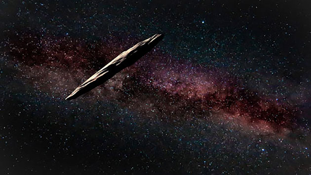 Künstlerische Darstellung des interstellaren Objekts 1I'Oumuamua (Illu.). Copyright: The international Gemini Observatory/NOIRLab/NSF/AURA artwork by J. Pollard