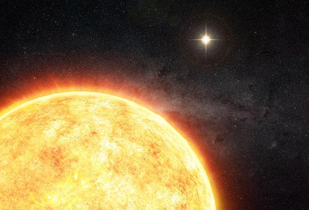 Künstlerische Darstellung unserer Sonne als Teil eines ursprünglichen Doppelsternsystems (Illu). Copyright: M. Weiss