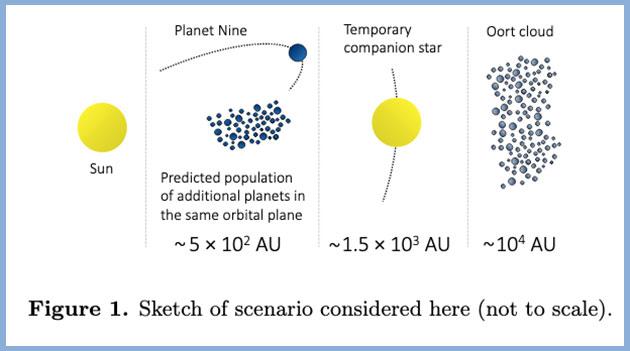 Skizze des Aufbaus des äußeren Sonnensystems nach dem Modell zweier gleichgroßer Sonnen nach Loeb und Siraj (Illu.). Copyright: Loeb u. Siraj