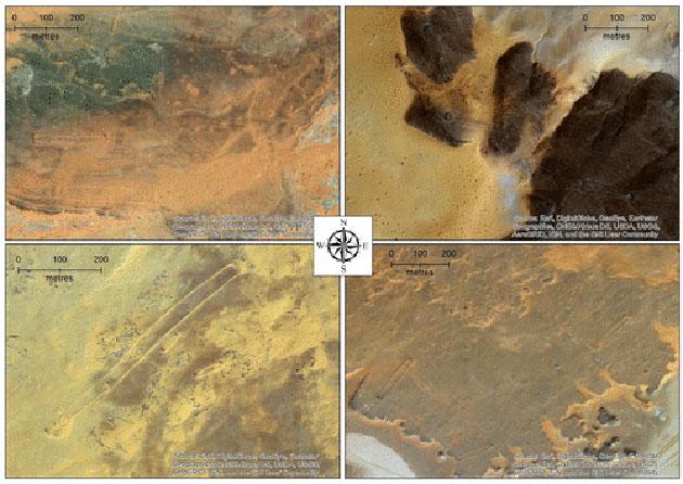 Satellitenaufnahmen verschiedener Mustatils in der Nefud-Wüste. Quelle: Huw Groucutt