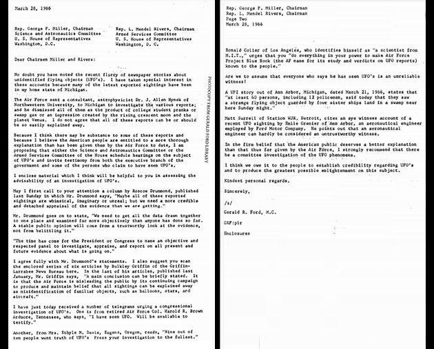 Der Originalbrief von Gerald Ford an die Vorsitzenden des Ausschusses für Wissenschaft und Astronautik und des Ausschusses für Streitkräfte. Quelle: Dokumente aus der Gerald Ford Presidential Library