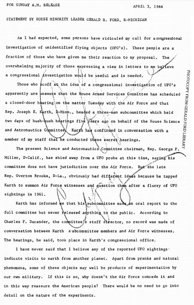 Erklärung von Gerald Ford vom 3. April 1966. Quelle: Gerald Ford Presidential Library.