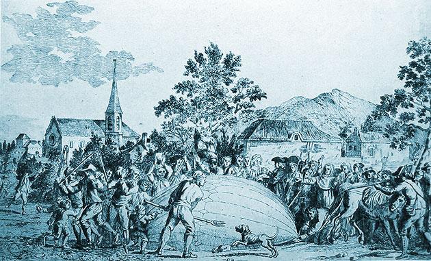 """Illustration der Flugschrift zur """"Ballonlandung in Gonesse"""" im jahre 1783. Copyright: Gemeinfrei"""