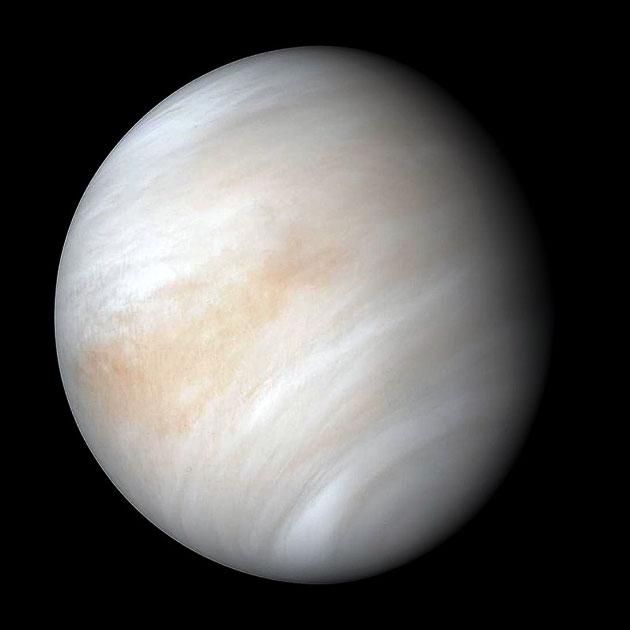 Kontrastverstärkte Aufnahme der Venus durch die NASA-Sonde Mariner 10. Copyright: NASA/JPL-Caltech