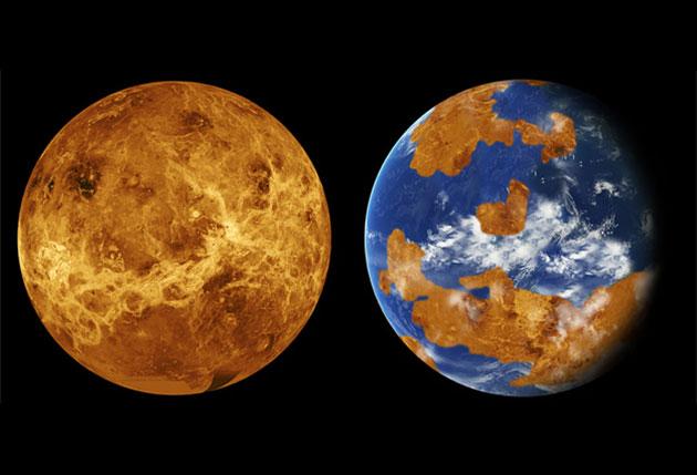 """Ein Vergleich der heutigen, heißen und trockenen Venus auf der Grundlage von Daten der sowjetischen Missionen """"Venera 13 und 14"""" und der amerikanischen Missionen """"Poineer"""" und """"Magellan"""" (r.) mit einem auch von Meeren geprägten Planetenmodell der frühen Venus (Illu. L.). Copyright: NASA/Jet Propulsion Laboratory-Caltech (l.) and NASA (r.)."""