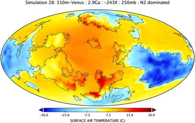 """Die Visualisierung der """"Simulation 28"""" zeigt, die Oberflächenlufttemperatur der Venus vor 2,9 Milliarden Jahren mit einer hypothetischen Atmosphäre von 0,25 Bar und einer erdähnlichen Topografie mit einem bis zu 310 Meter tiefen Ozean. Hierbei handelt es sich um die im Ergebnis erdähnlichste der insgesamt 45 durchgespielten Simulationen. Copyright/Quelle: M.J. Way and A.D. Del Genio, J. Geophys. Res. Planets."""