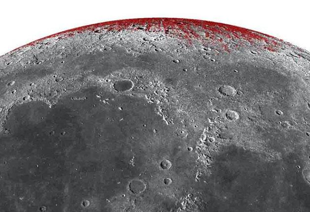 Hämatitvorkommen am Nordpol des Mondes. Copyright: Shuai Li