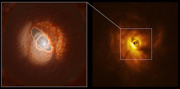 Der innere Ring von GW Orionis: Modell und SPHERE-Beobachtungen Copyright: ESO/L. Calçada, Exeter/Kraus et al.