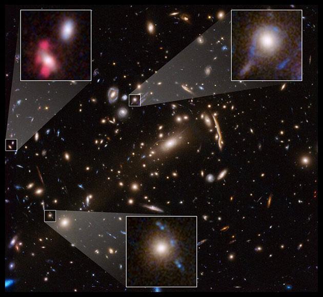 Beispiele der untersuchten Galaxienhaufen und ihrer Gravitationslinseneffekte. Copyright: NASA, ESA, G. Caminha (University of Groningen), M. Meneghetti (Observatory of Astrophysics and Space Science of Bologna), P. Natarajan (Yale University), und the CLASH team