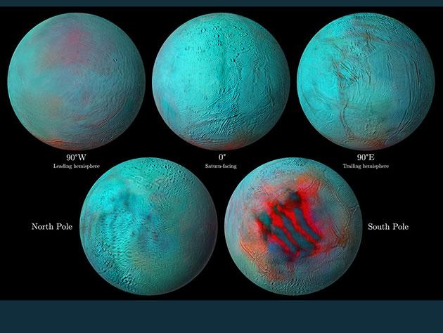 """Infrarotaufnahmen der Cassini-Sonde zeigen frisches Eis als rötliche Färbung. Besonders intensiv ist diese am Südpol des Saturnmondes Enceladus in der Region der sog. """"Tigerstreifen"""", aber nun auch in der nördlichen Hemisphäre zu erkennen. Copyright: NASA/JPL-Caltech/University of Arizona/LPG/CNRS/University of Nantes/Space Science Institute"""