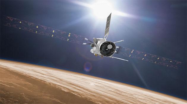 """Künstlerische Darstellung der ESA-Sonde """"BepiColombo"""" (Illu). Copyright: ESA/ATG medialab (Farbanpassung: grewi)"""