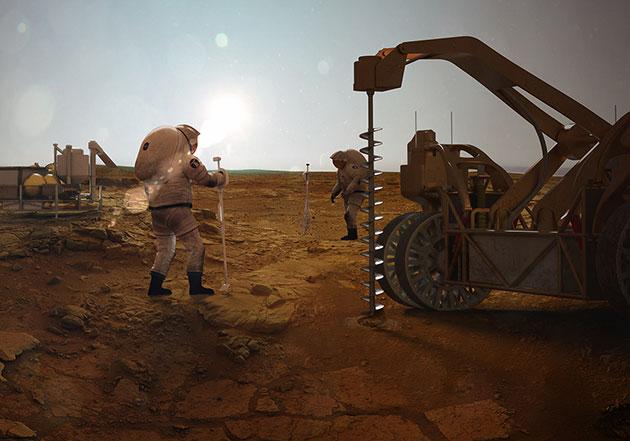 Künstlerische Darstellung zukünftiger Bohrungen nach Untergrund-Biosphären auf Mond und Mars (Illu.). Copyright/Quelle: Cfa