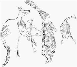 Linienumsetzung der obigen Maliwawa-Szene. Copyright/Quelle: P. Taçon et al., Australian Archaeology, 2020