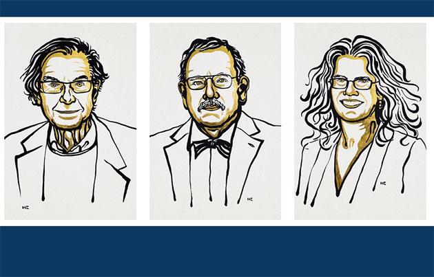 Die Physik-Nobelpreisträger 2020: Roger Penrose, Reinhard Genzel und Andrea Ghez (Illu.). Copyright: Ill. Niklas Elmehed / Nobel Media https://www.nobelprize.org/