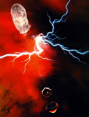 Künstlerische Darstellung des Abstiegs des LNMS durch die Venus-Atmosphäre (Illu.). Copyright: NASA