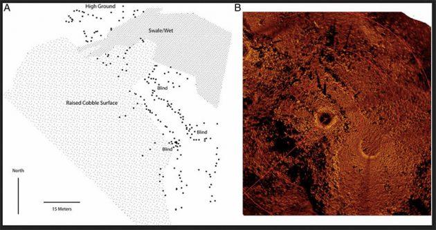 Sonaraufnahmen von 2009 zeigen ebenfalls in parallelen Linien angeordnete Steinsetzungen an Grund des Huronsees. Eine grafische Umsetzung ist links abgebildet. Copyright/Quelle: O'Shea et al., PNAS 2014