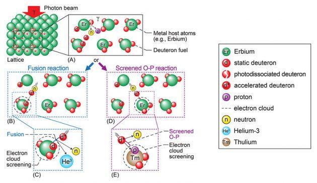 """Zu dieser Abbildung erläutert die NASA-Weseite: """"Darstellung der Hauptelemente des beobachteten Gittereinschlussfusionsprozesses. In Teil (A) ist ein Erbiumgitter mit Deuteriumatomen (d. H. Erbiumdeuterid) beladen, die hier als Deuteronen existieren. Bei Bestrahlung mit einem Photonenstrahl dissoziiert ein Deuteron und das Neutron und das Proton werden ausgestoßen. Das ausgestoßene Neutron kollidiert mit einem anderen Deuteron und beschleunigt dieses als energetisches 'd *', wie in (B) und (D) gezeigt. Das 'd *' induziert entweder gescreente Fusion (C) oder gescreente Oppenheimer-Phillips (O-P) -Entfernungsreaktionen (E). In (C) kollidiert das energetische 'd *' mit einem statischen Deuteron 'd' im Gitter und sie verschmelzen miteinander. Diese Fusionsreaktion setzt entweder ein Neutron und Helium-3 (gezeigt) oder ein Proton und Tritium frei. Diese Fusionsprodukte können auch in nachfolgenden Kernreaktionen reagieren und mehr Energie freisetzen. In (E) wird ein Proton von einem energetischen 'd *' befreit und von einem Erbium (Er) -Atom eingefangen, das dann in ein anderes Element, Thulium (Tm), umgewandelt wird. Wenn das Neutron stattdessen von Er eingefangen wird, wird ein neues Isotop von Er gebildet (hier nicht abgebildet)."""" Copyright/Quelle: Steinetz et al. / GRC-NASA"""