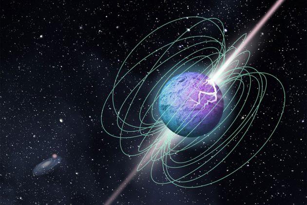 Künstlerische Darstellung des Ausbruchs eines Magnetars mit einer komplexen Magnetfeldstruktur und Strahlemission. Copyright: Grafikdesign-Team der McGill University