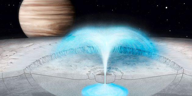 Künstlerische Darstellung einer kryovulkanischen Eurption im Innern eines Kraters im Eispanzer des Jupitermondes Europa (Illu.) Copyright: Justice Blaine Wainwright
