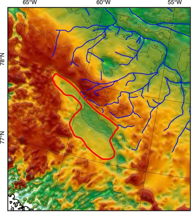 Die auf der Grundlage der geophysikalischen Scans erstellte Karte zeigt das einstige Seebett mit zahlreichen Zuflüssen und mindestens einem Abfluss. Quelle: Paxman et al., EPSL, 2020