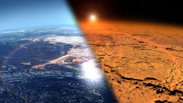 Künstlerische Darstellung des frühen Mars (r.), von dem Wissenschaftler annehmen, dass der wärmer war, flüssiges Wasser an der Oberfläche trug und eine dichtere Atmosphäre besaß als der heutige kalte und trockene Mars (Illu.). Copyright: Goddard Space Flight Center / NASA