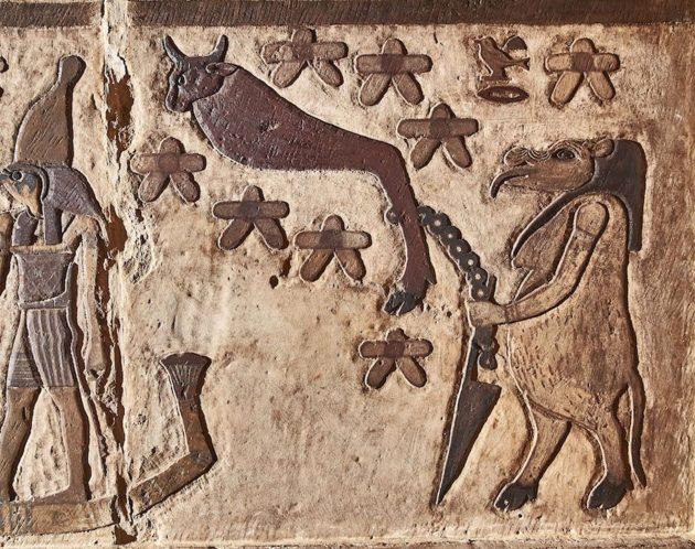 """Das Zirkumpolar-Sternbild """"Großer Wagen"""" in Form eines Stierschenkels. Es besteht aus sieben Sternen und ist von einer Göttin in Nilpferd-Gestalt an einen Pflock gebunden. Der Große Wagen gilt als Verkörperung des feindlichen Gottes Seth, der seinen Bruder Osiris ermordete. Die Göttin verhindert, dass Seth nun zu seinem Bruder Osiris in die Unterwelt gelangt. Copyright/Quelle: Ahmed Amin / Universität Tübingen"""