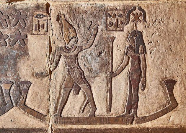 Das Sternbild Orion als Osiris (links) und Sothis als Isis (rechts). Copyright/Quelle: Ahmed Amin / Universität Tübingen
