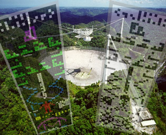 Symbolbild: Das Radioteleskop von Arecibo mitsamt der 1974 von hier aus gesendeten Botschaft an Außerirdische und einer Antwort als Kornkreis 2001 nahe Chilbolton. Copyright: NAIC - Arecibo Observatory, a facility of the NSF (Arecibo) / A.Mller für grenzwissenschaft-aktuell.de (Chilbolton)