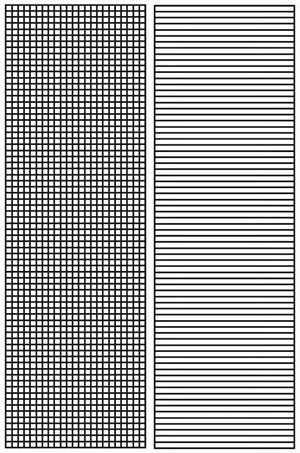"""Die noch leere Rastervorlage für die """"Arecibo-Botschaft"""" (l.), auf der eigentlich auch die """"Antwort von Chilbolton"""" basieren sollte. In dieser (r.) fehlen jedoch die vertikalen Linien. Quelle: A. Müller"""