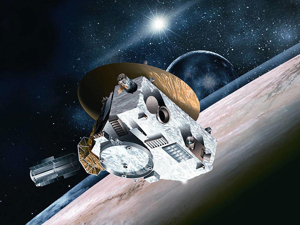 """Künstlerische Darstellung der NASA-Mission """"New Horizon"""" (Illu). Copyright: NASA/Johns Hopkins University Applied Physics Laboratory/Southwest Research Institute"""