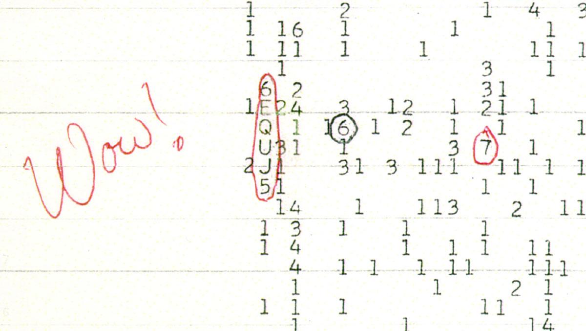 """Der Datenausdruck des Astronoms Jerry R. Ehman mit dessen handschriftlicher und für das Signal namensgebender """"WOW""""-Notiz vom 15. August 1977. Copyright: Big Ear Radio Observatory and North American AstroPhysical Observatory (NAAPO)"""