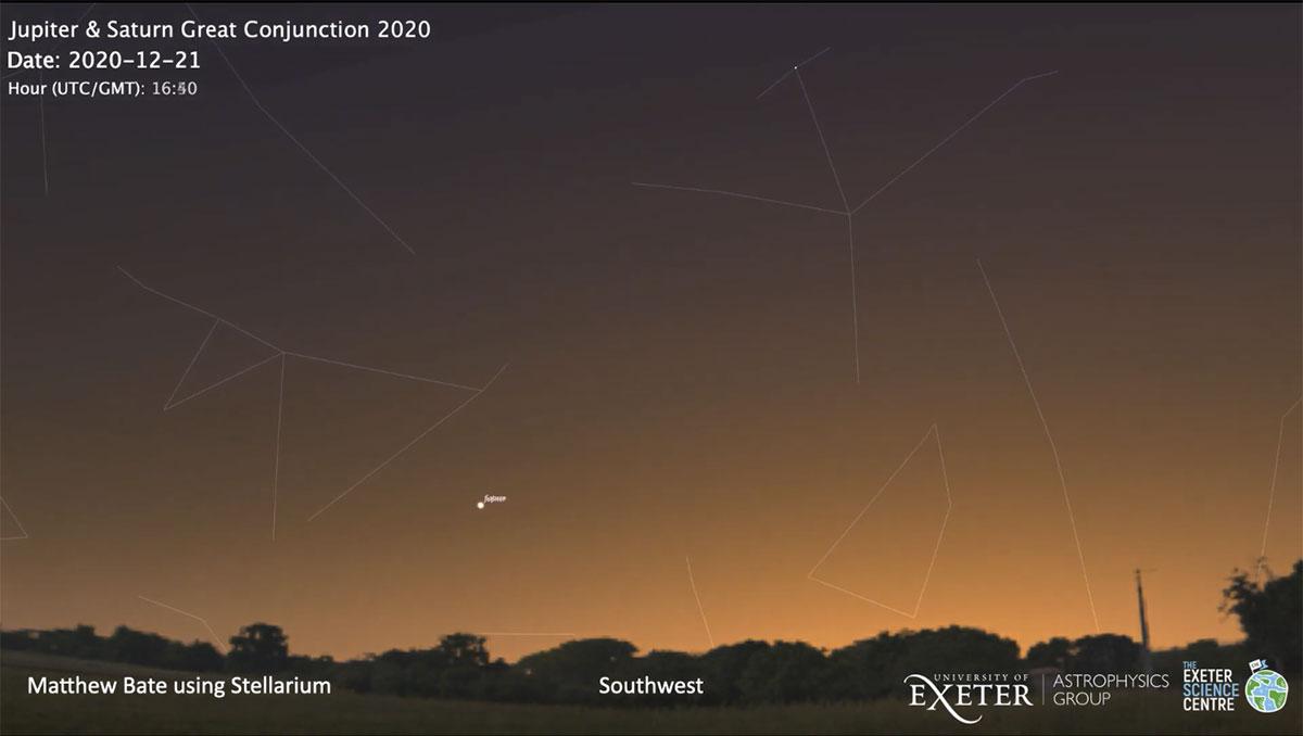 Simulation der Großen Konjunktion am 21. Dezember 2020 Copyright/Quelle: Stellarium, University of Exeter / CC BY 4.0