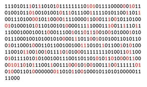 """Die ersten 500 Zeichen der in einen binären Zahlenstrahl übersetzten Kosmischen Hintergrundstrahlung. Die schwarzen Ziffern sind in den Daten von """"Planck"""" und """"WMAP"""" identisch, rote Zahlen divergieren in den beiden Quellen. Copyright/Quelle: M. Hippke / arXiv, 2020"""